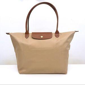 Longchamp Le Pliage Large Nylon Tote Bag Beige